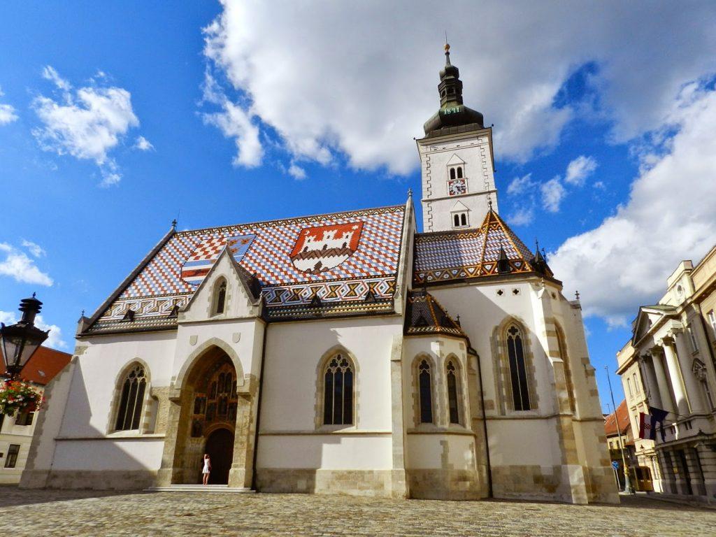 Igreja de São Marcos, na Cidade Alta (parte antiga), em Zagreb - Croácia