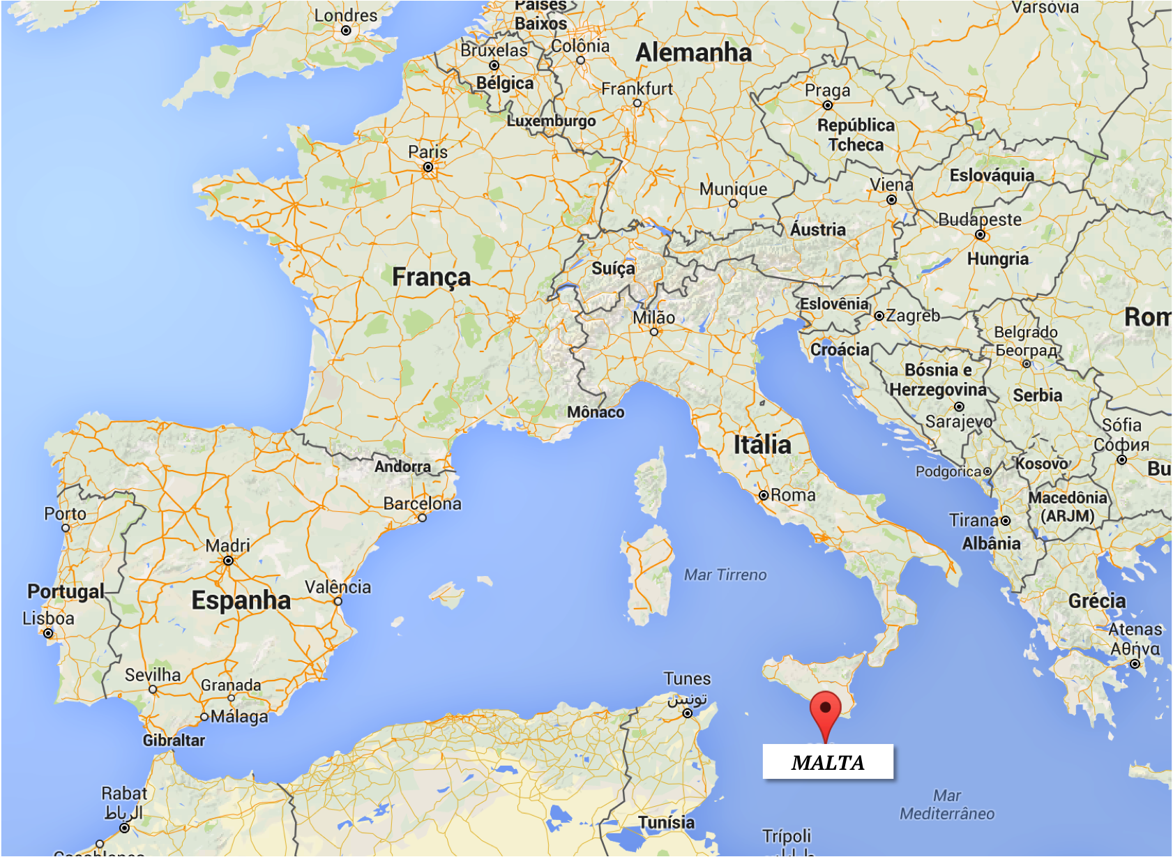 Localização - Onde fica Malta? | mapa: Google Maps
