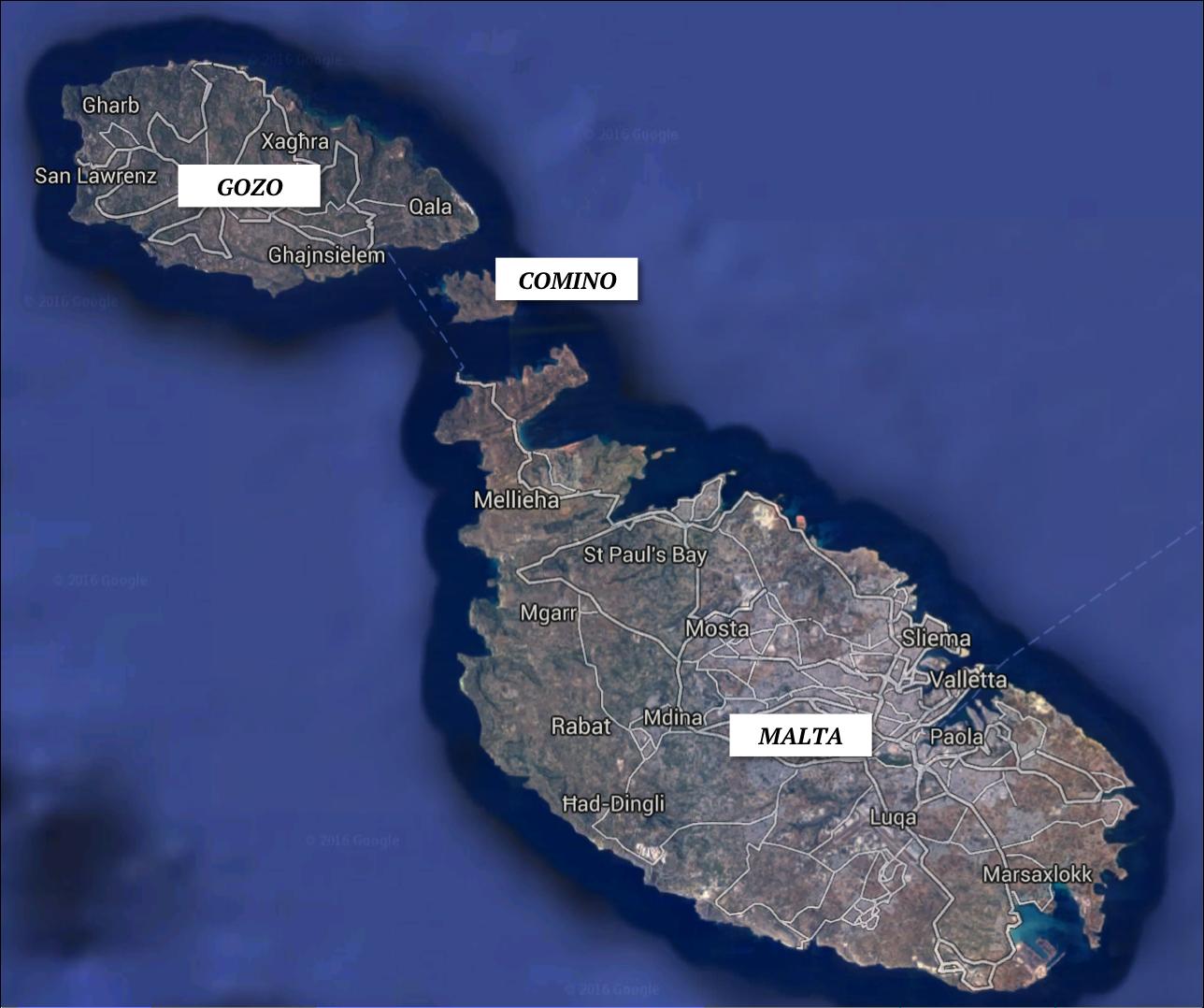 Ilhas Maltesas: Malta, Comino e Gozo | Mapa: Google Earth