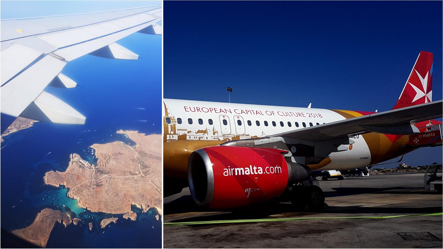 Vista aérea da ilha de Comino / Blue Lagoon & Aeronave da Air Malta