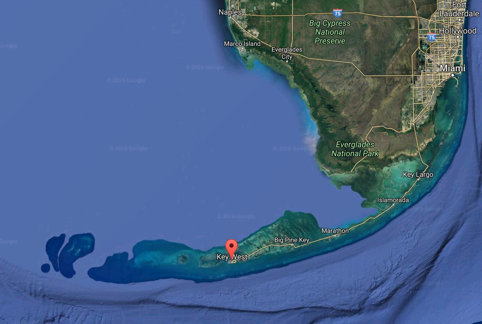Florida Keys e a estrada Overseas Highway | imagem: Google Earth