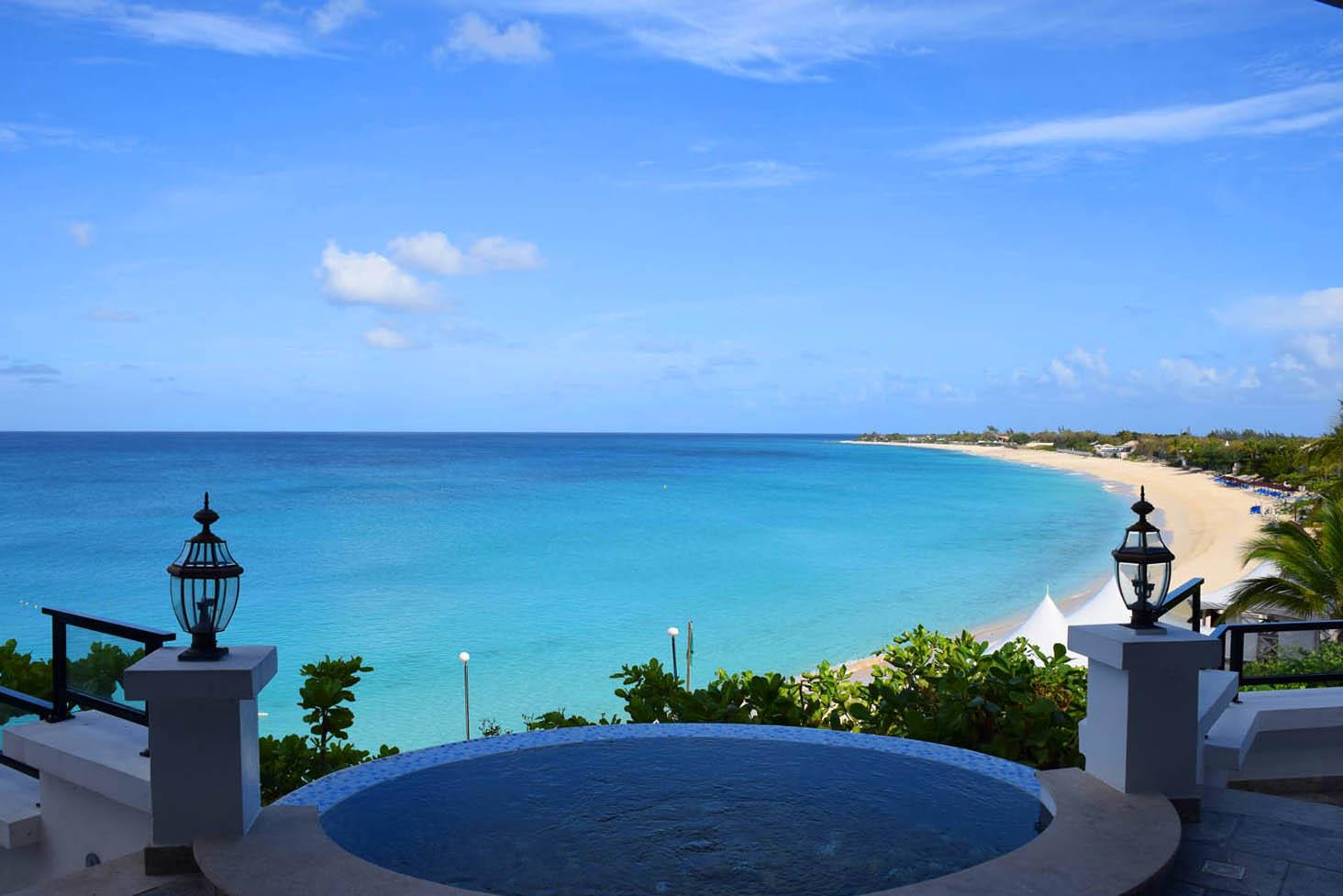 Praia Baie Longue, vista do lobby do hotel Belmond La Samanna