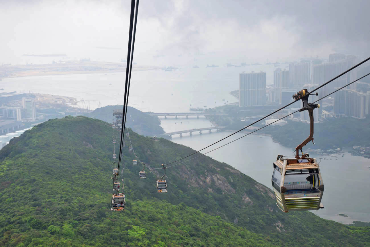 Ngong Ping Cable Car para chegar no Giant Buddha, Hong Kong