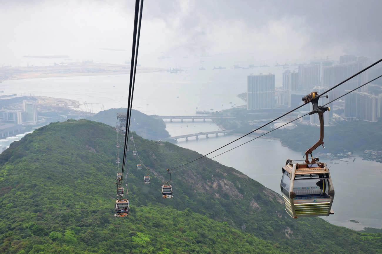 Ngong Ping Cable Car para chegar no Giant Buddha, Hong Kong
