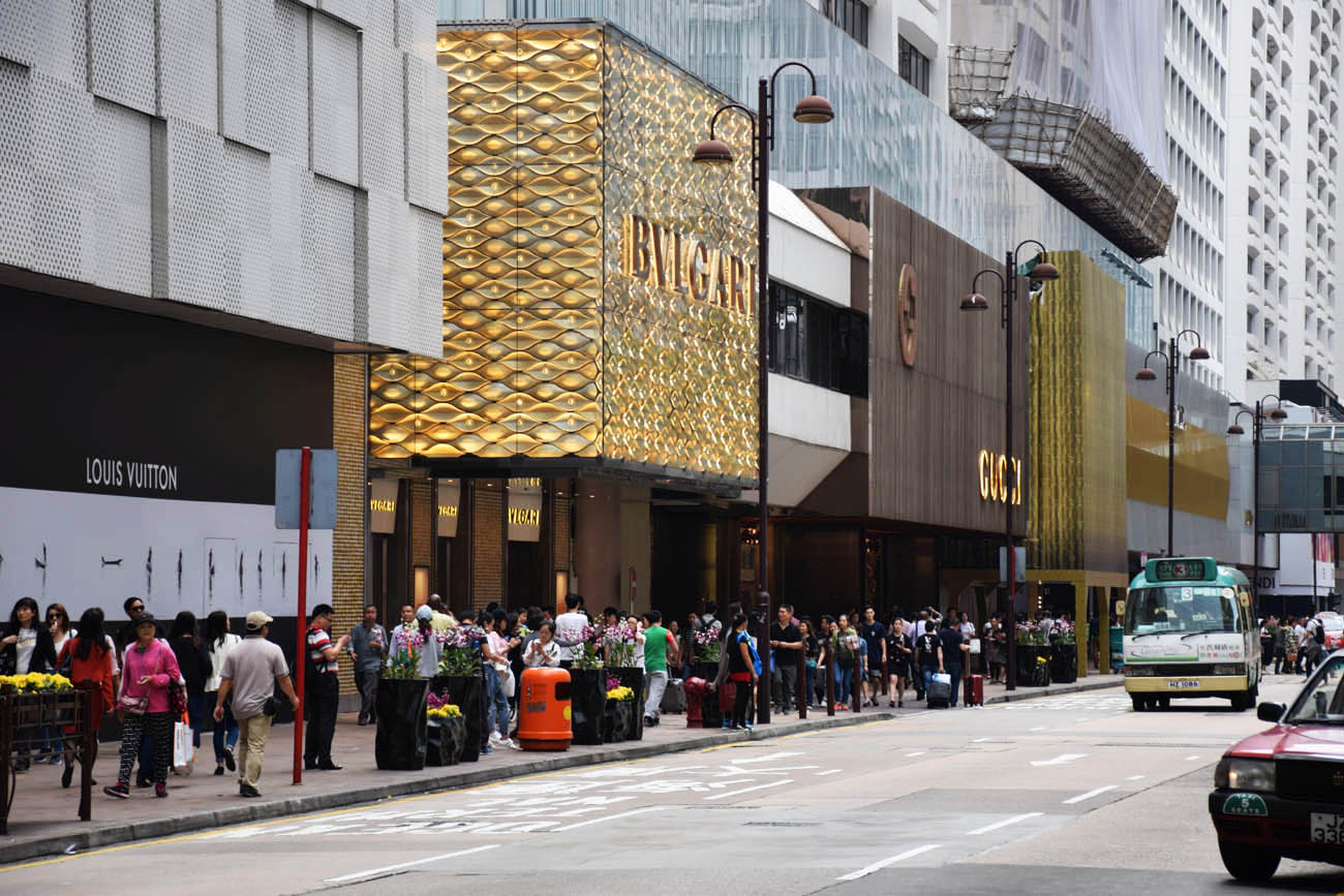 Shoppings de luxo na Canton Road, Hong Kong