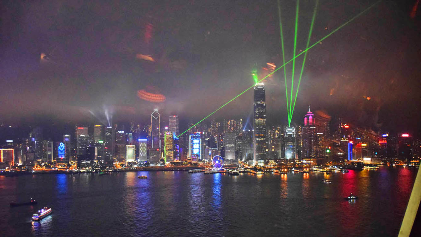 Symphony of Lights, em Hong Kong, vista do Restaurante Hutong