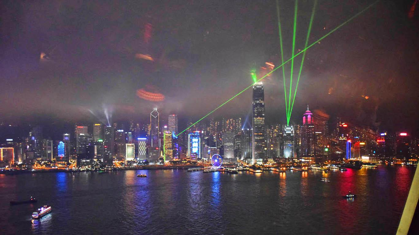 Symphony of Lights, em Hong Kong, vista do Restaurante Hutong