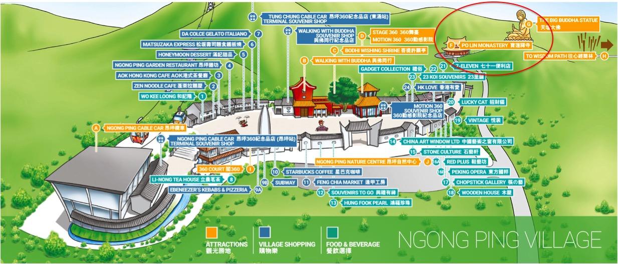 Mapa da Ngong Ping Village