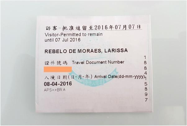 """""""Carimbo"""" da entrada de Hong Kong - papelzinho impresso"""