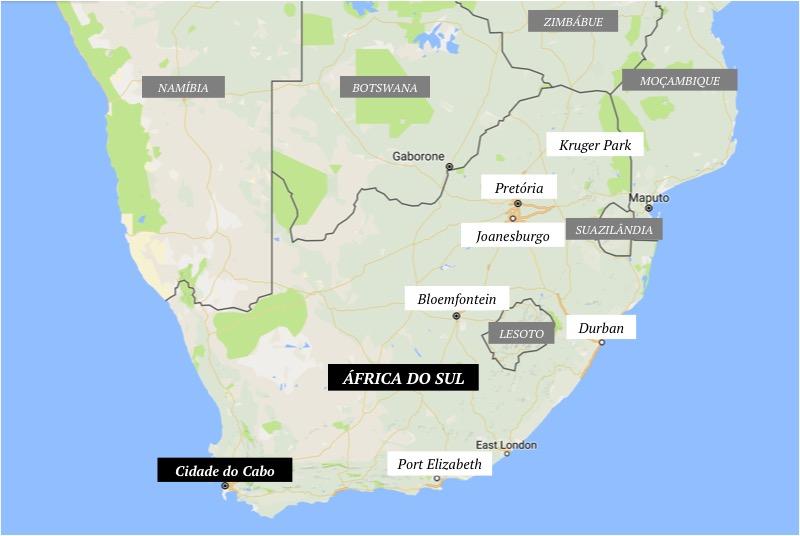 Cidades da África do Sul e países vizinhos | base mapa: Google Maps