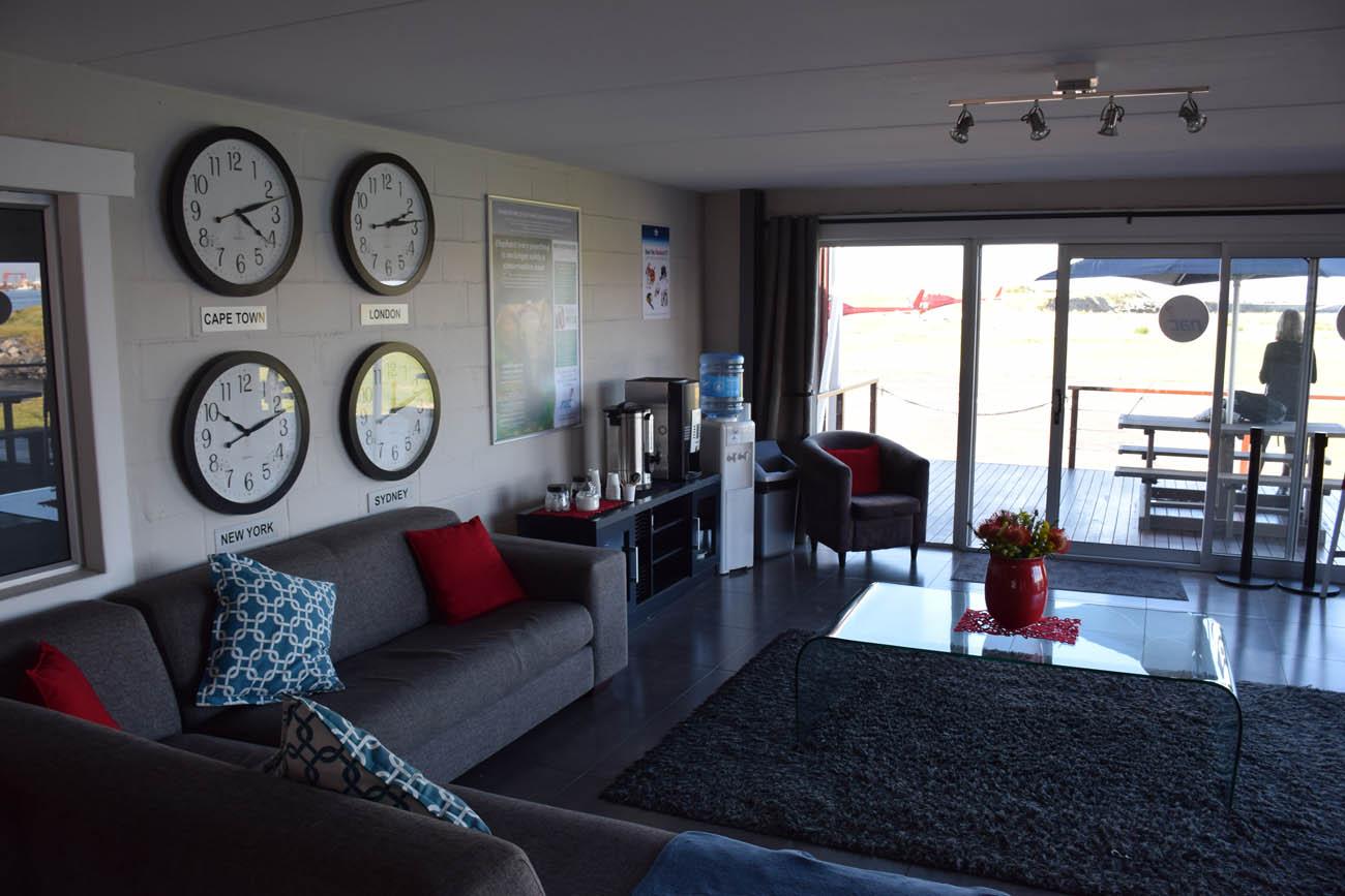 Lounge da NAC Helicopeters - para esperar o vôo