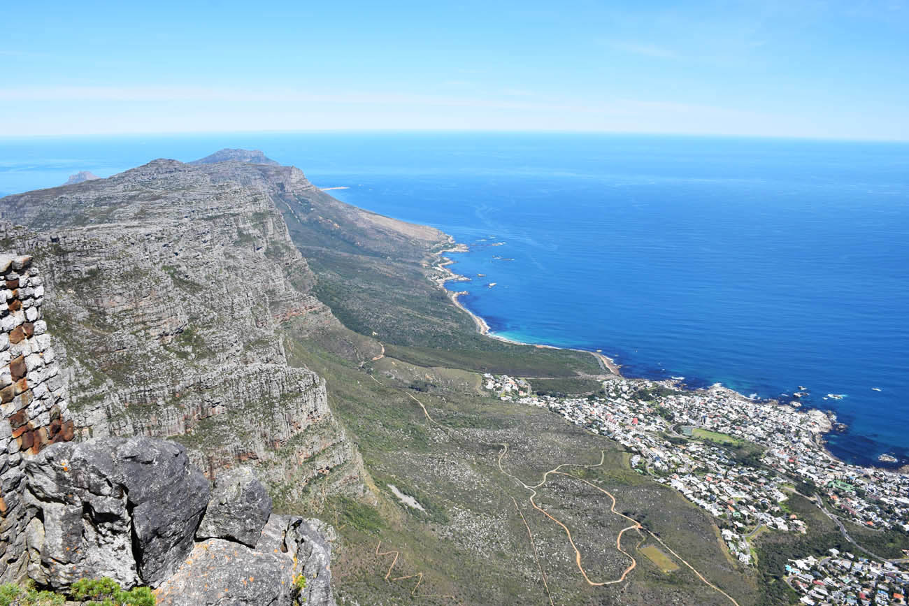 Vista da Table Mountain - Cidade do Cabo | Lá na pontinha está o Cabo da Boa Esperança