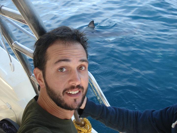 Meu marido quando mergulhou com tubarão branco em 2010. Medo!!!!