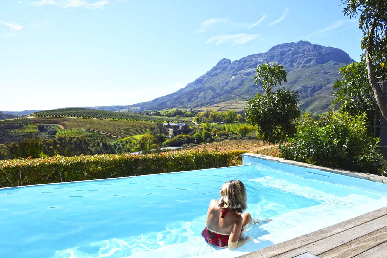 Nosso quarto no Delaire Graff Estate Lodge em Stellenbosch. Vinhedos e piscina!