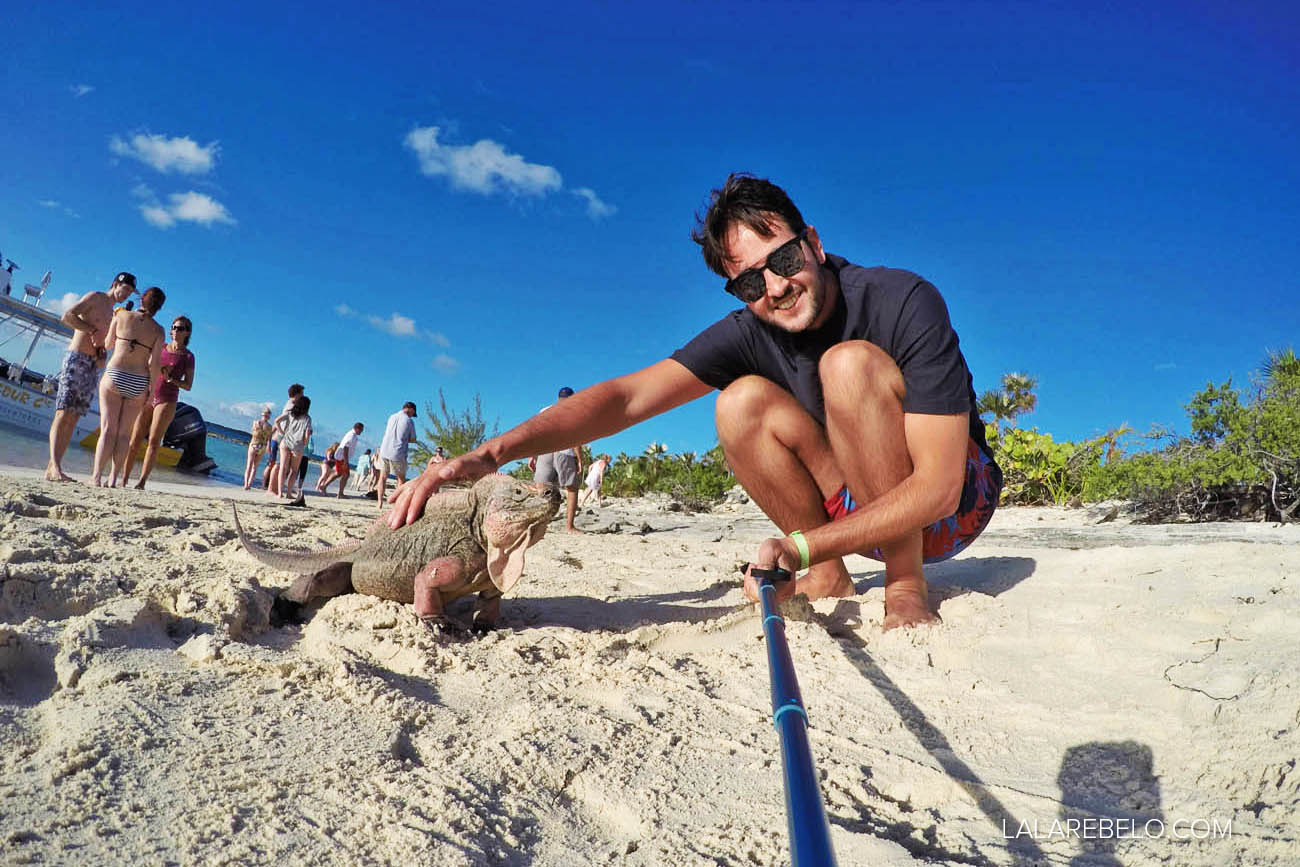 Selfie com a iguana!!! Exuma - Bahamas