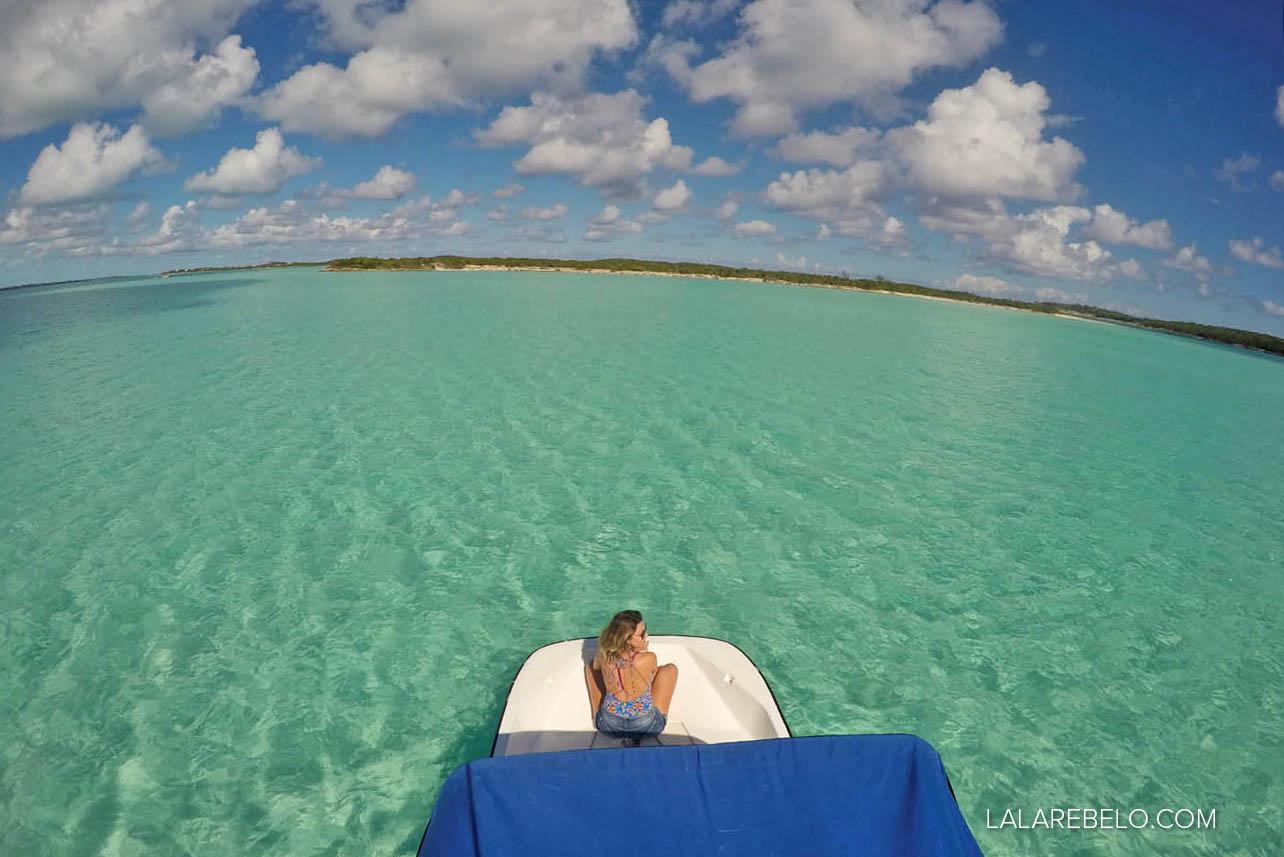 Stocking Island de barco alugado na Minns Water Sports - Exuma - Bahamas
