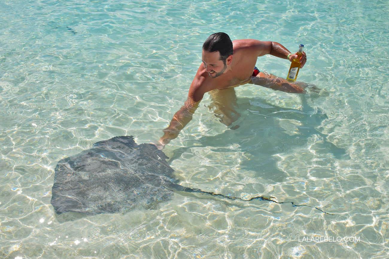 Ricardo e uma das arraias do Chat 'n' Chill - Stocking Island - Exuma - Bahamas