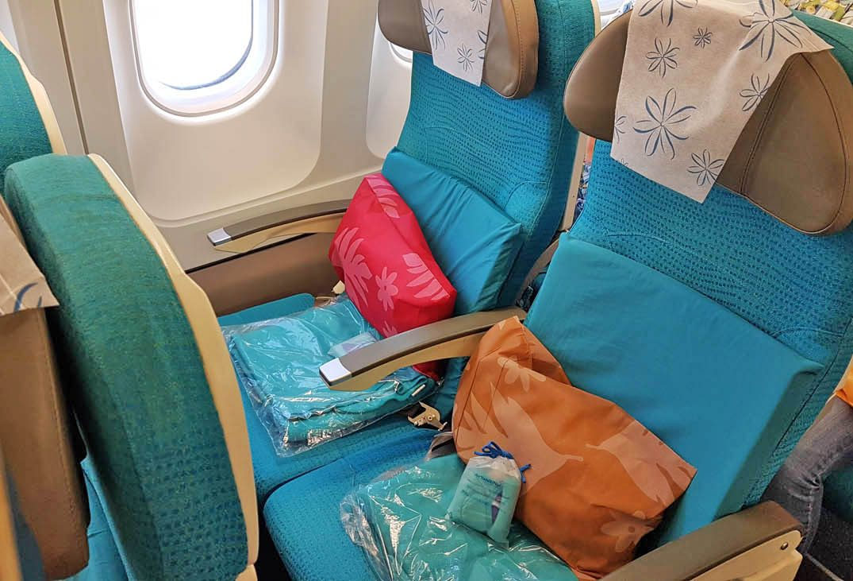 Interior da aeronave da Air Tahiti Nui