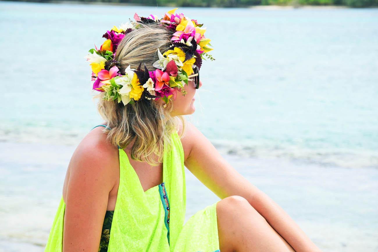 Coroa de flores que ganhamos em Huanine, Polinésia Francesa