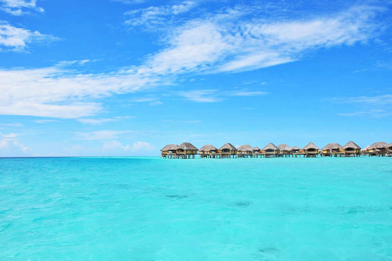 Bangalôs do Le Taha'a Island Resort, na Polinésia Francesa