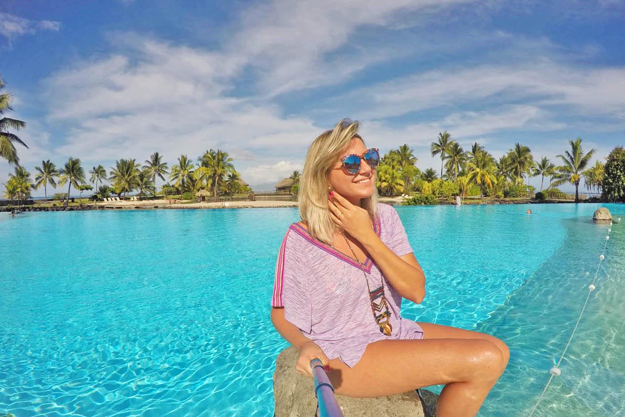Mais uma na piscina principal do InterContinental Tahiti - até parece uma lagoa!!! | foto: Lala Rebelo