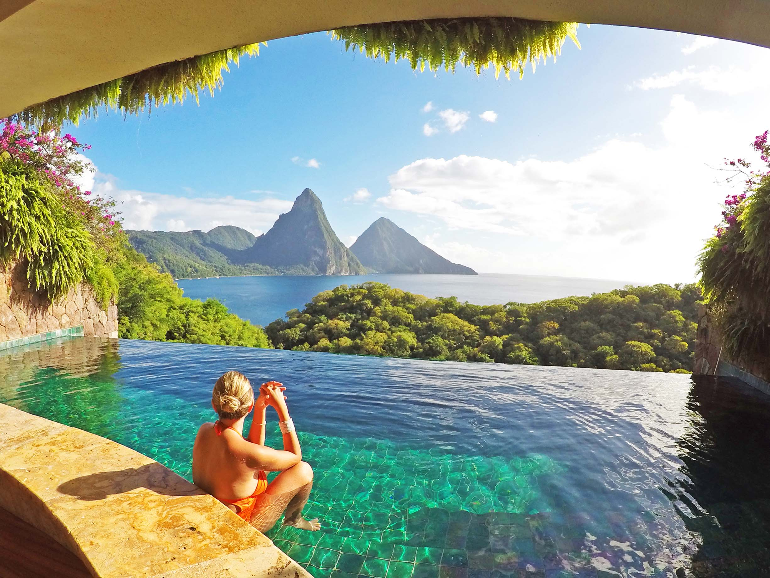 Piscina do quarto Moon Sanctuary no hotel Jade Mountain, e, Saint Lucia