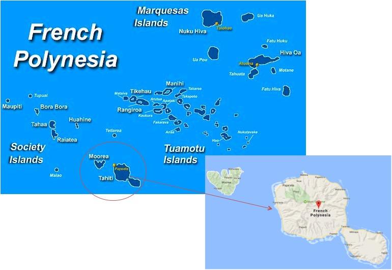 Mapa - Localização do Tahiti dentro da Polinésia Francesa