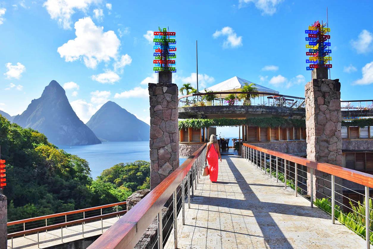 A caminho do restaurante Jade Mountain Club, em Saint Lucia