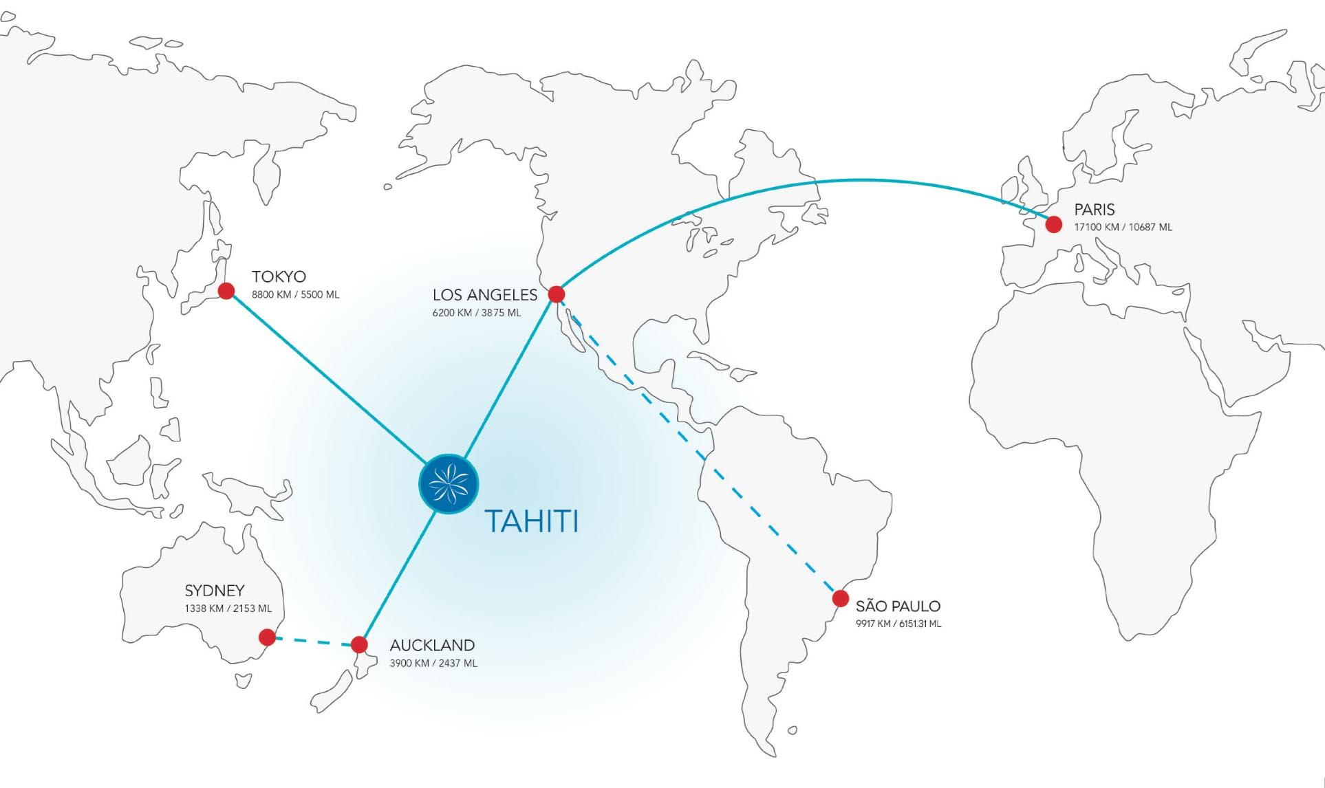 Destinos operados pela Air Tahiti Nui