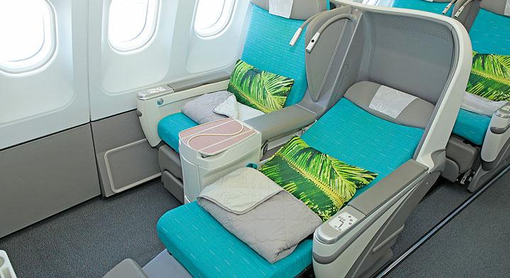 Assentos da classe executiva (Poerava Business) da Air Tahiti Nui | foto: divulgação