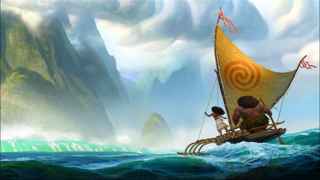 Cena do filme - Moana e Maui na Pirogue | imagem: divulgação