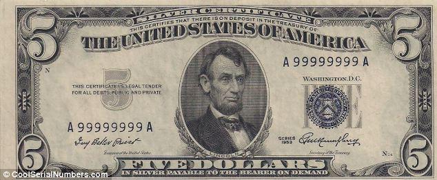 Nota antiga de dólar americano