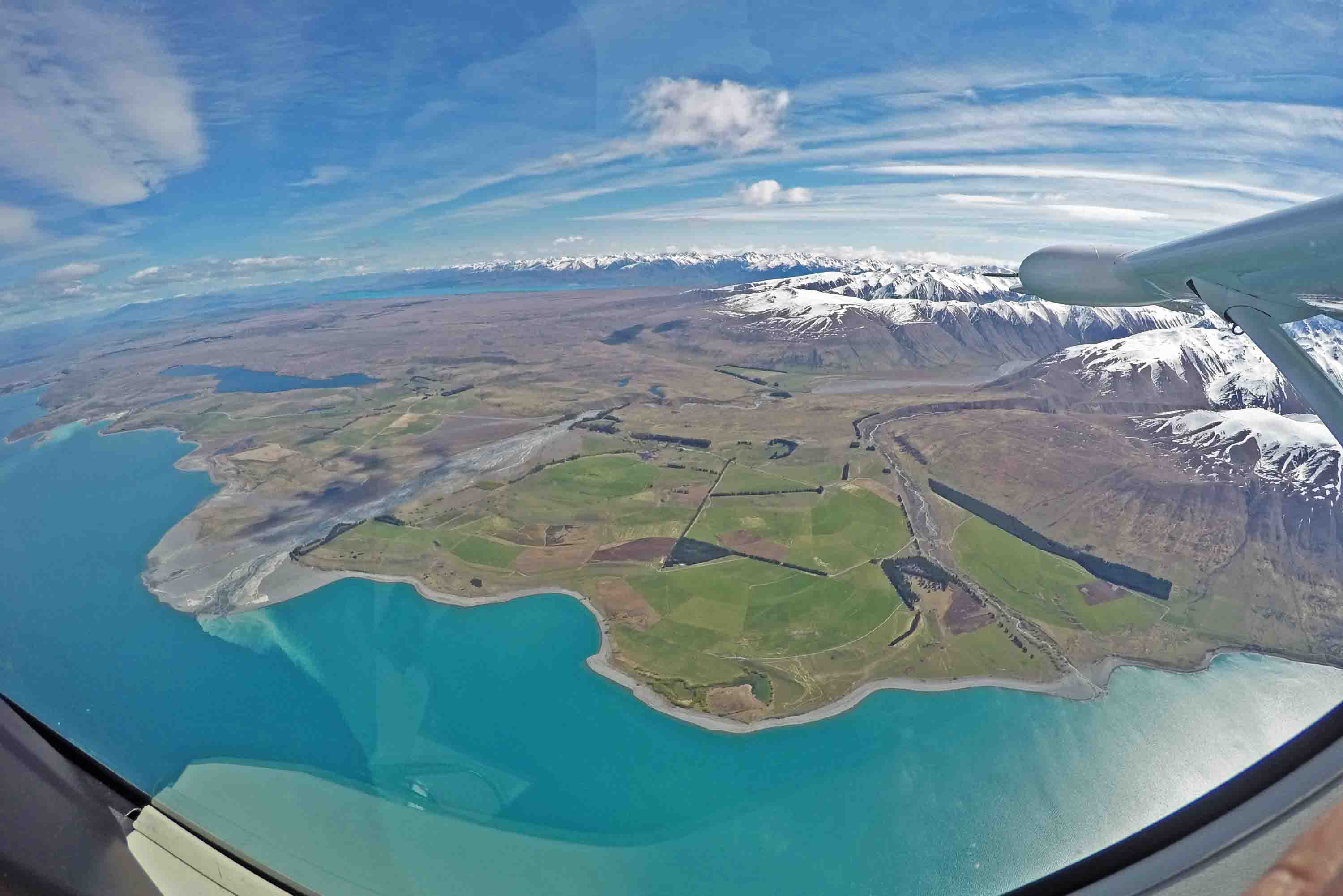 lake tekapo panoramic flight