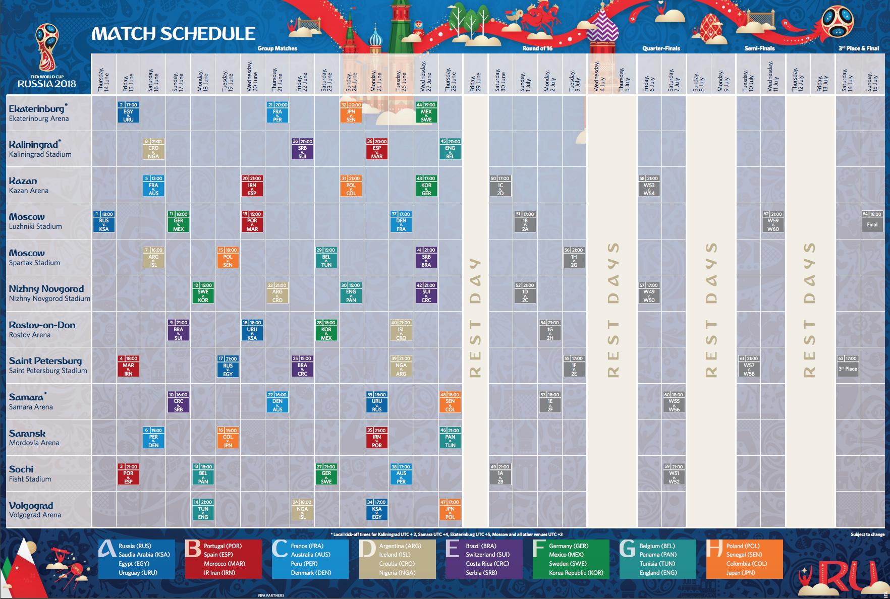 tabela de jogos copa do mundo russia 2018