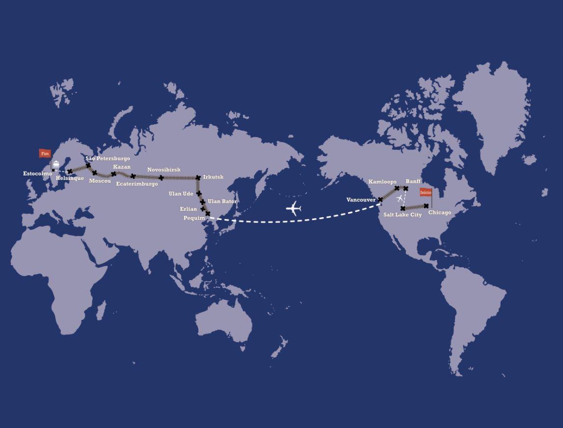 Viagem de volta ao mundo de trem - mapa rota