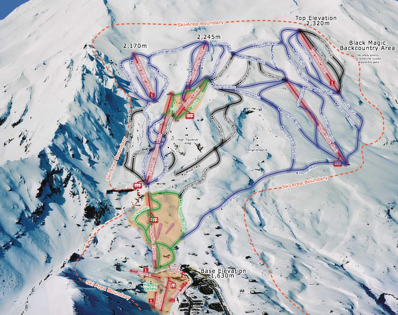 whakapapa ski area - mt ruapehu - new zealand
