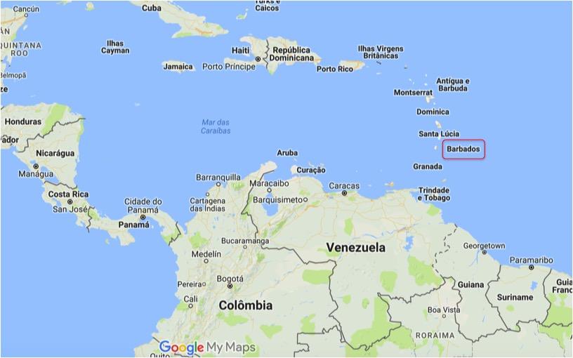 mapa barbados onde fica barbados no caribe