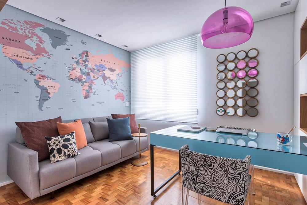 decoração tema viagem - escritório blog lala rebelo - home office