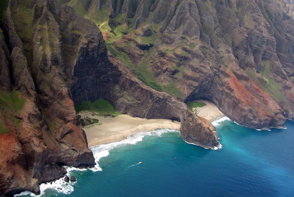 napali coast kauai hawaii view from helicopter flight