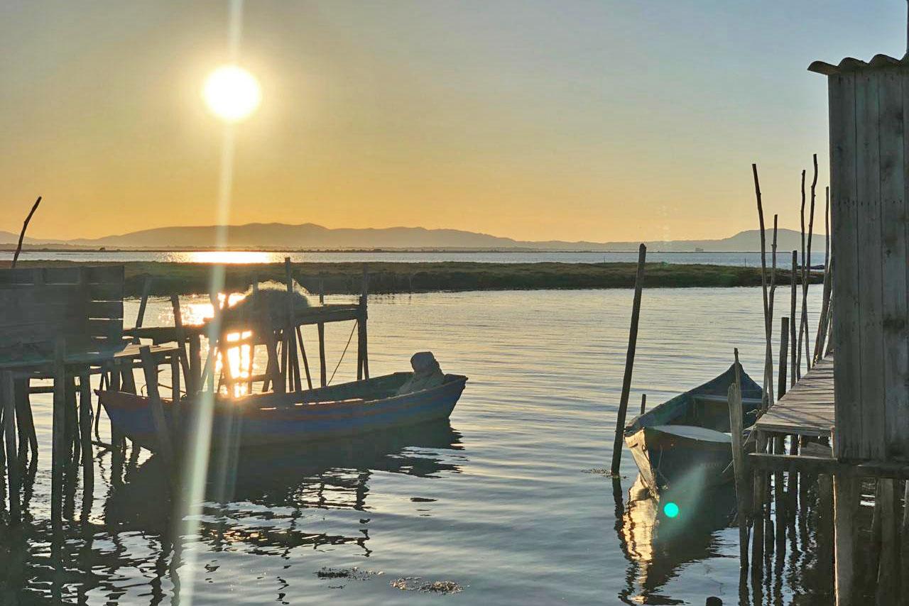 Pôr do sol no Porto Palafítico da Carrasqueira - Comporta - Portugal