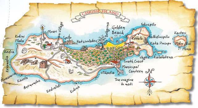 Chrissi Island - Crete - map