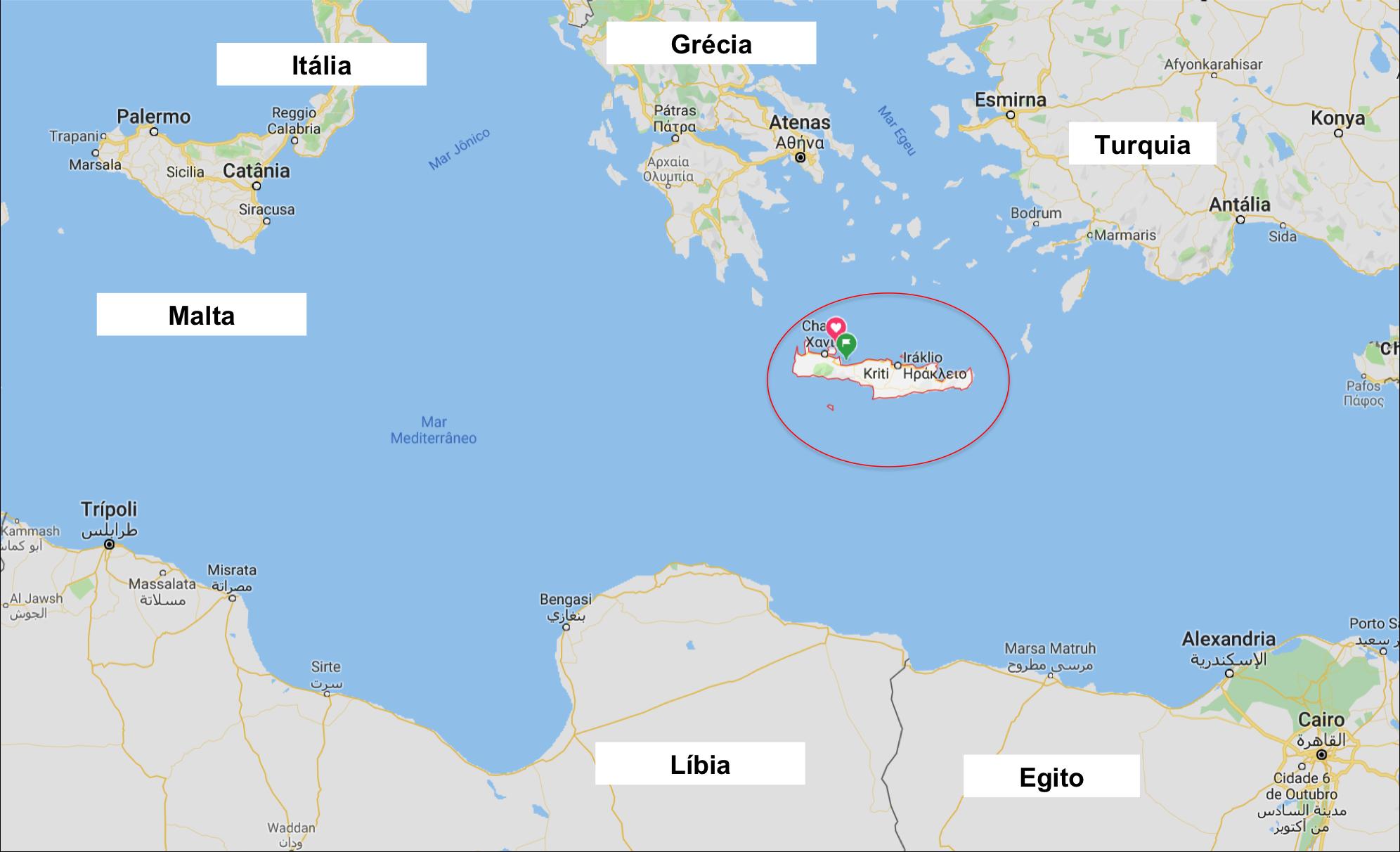 Localização de Creta no mapa - onde fica - Grécia