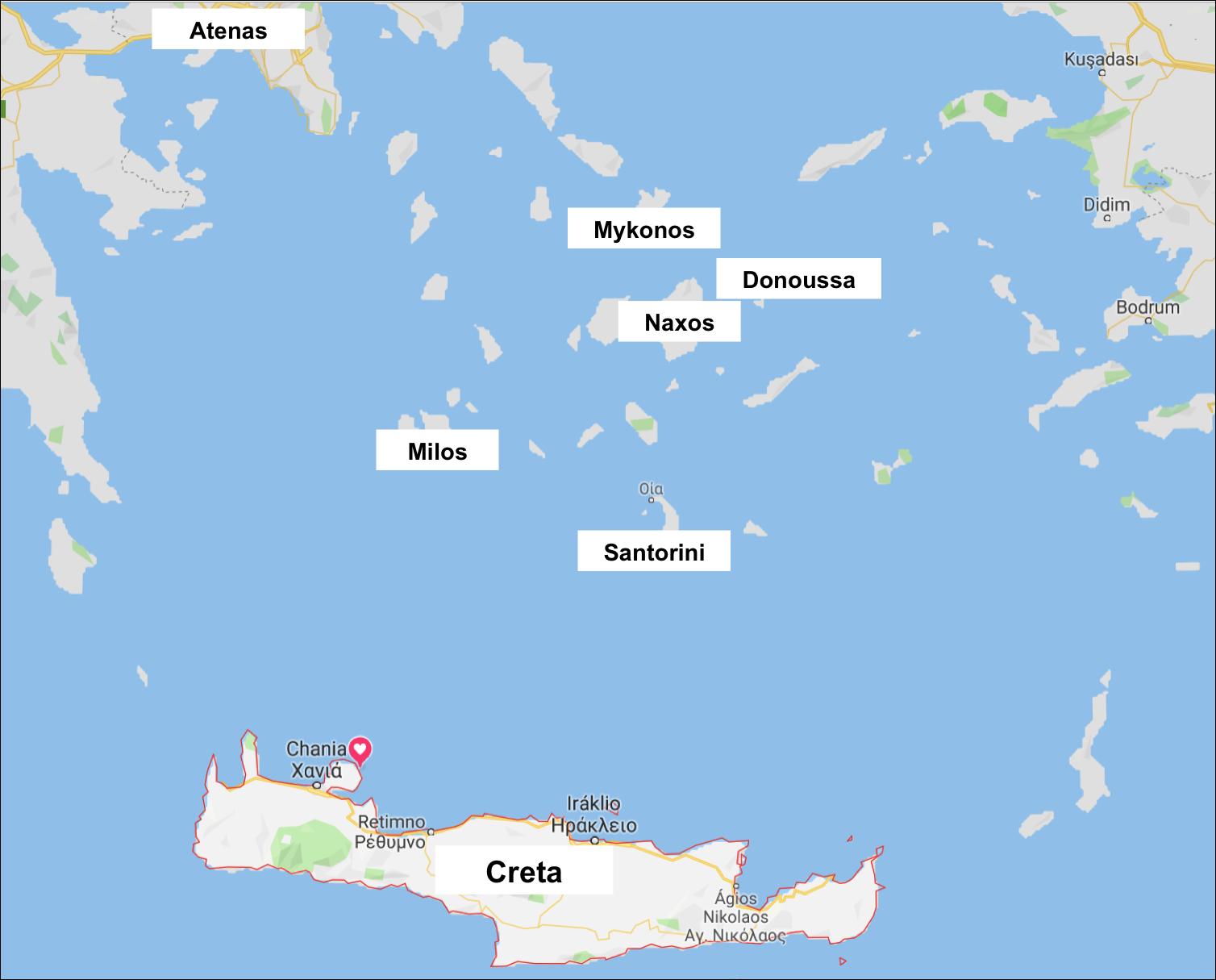 Mapa ilhas Cíclades e Creta