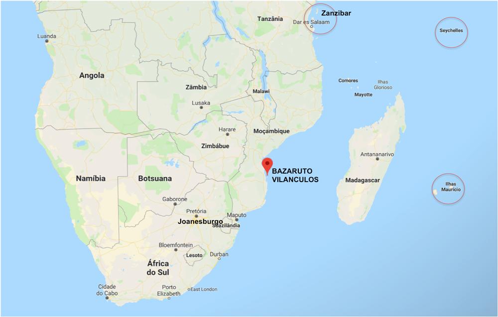 localização do Arquipélago de Bazaruto - ilhas da África