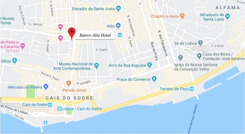 Bairro Alto Hotel - localização - onde ficar em Lisboa