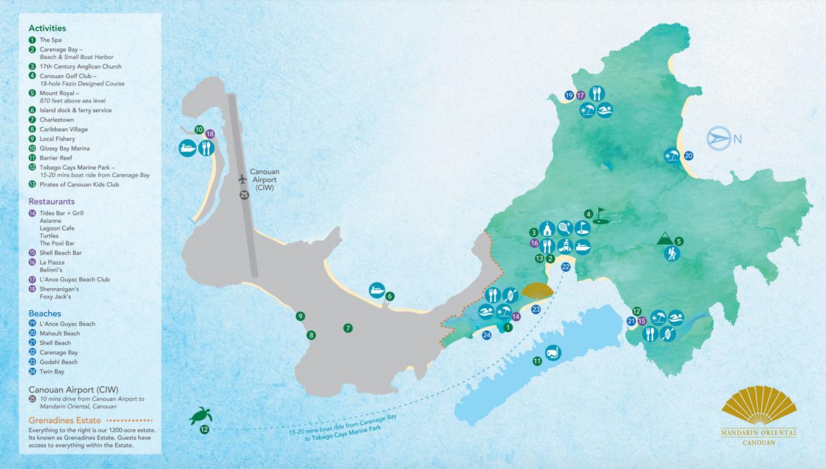 Mapa de Canouan - Mandarin Oriental Canouan